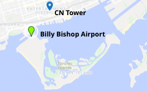 Map of Toronto showing CN Tower and where all-electric ferry runs