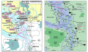 A combined route map of the ferries of Wasdhington State and British Columbia ferries