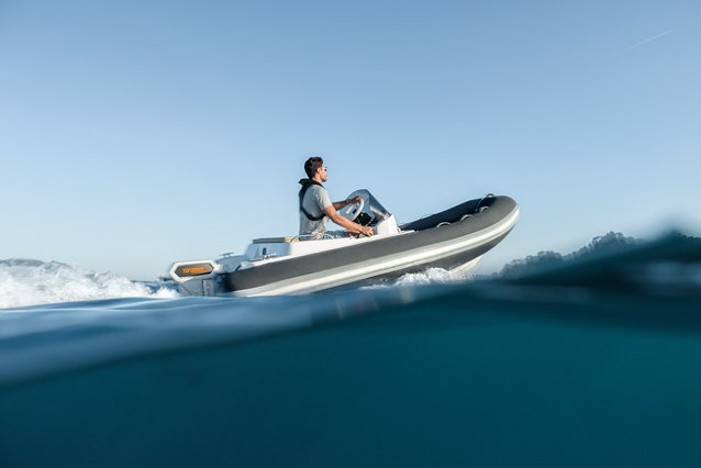 a RIB boat with electric motor