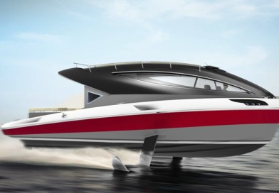 Electric hydrofoiling yacht with twin Tesla motors