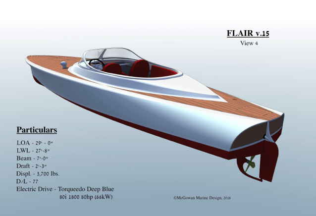 Designer's drawing of a wooden electric boat