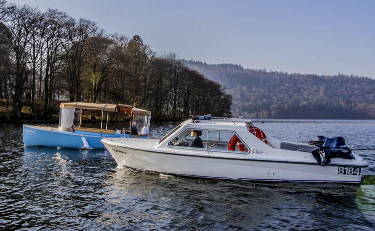 Electric boats on Lake Windermere in England