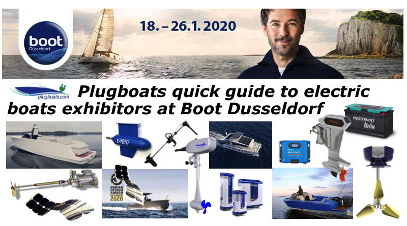 A sample of electric boats, motors and accessories at the Boot Dusseldorf show