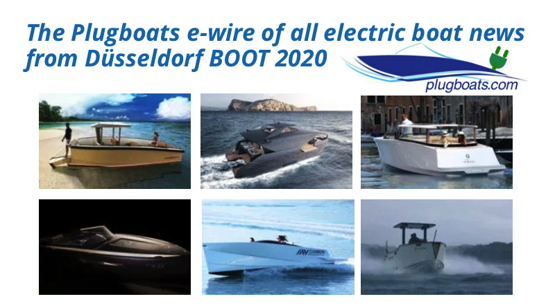 Montage of electric boats making news at Dusseldorf