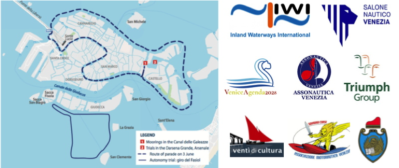 Event map for Venice e-Regata electric boat regatta