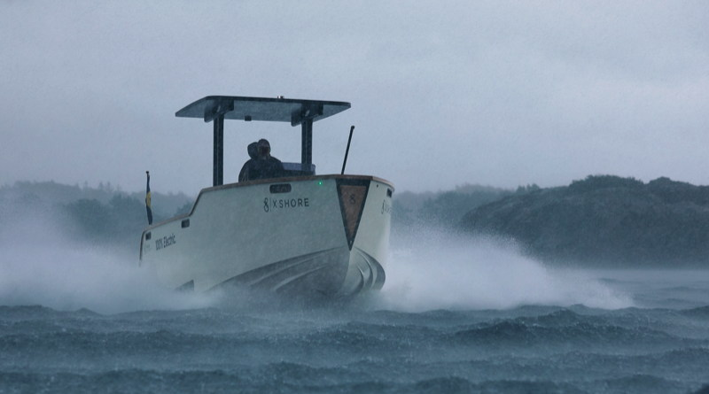 The 2nd X-Shore electric boat model rides hrough rough weather and high waves