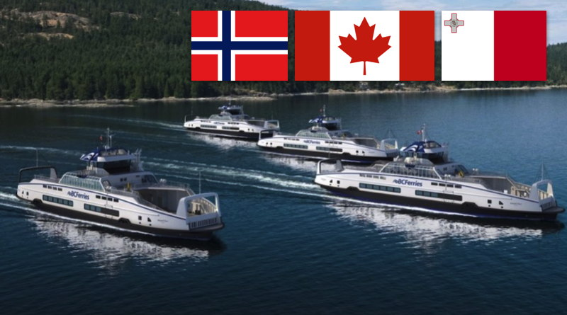 electric ferries in straits off Canada with superimposed pictures of flags of Canada, Malta and Norway