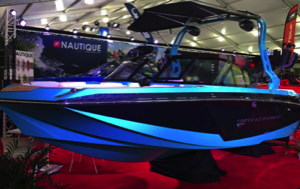 Nautique all-electric ski-boat on display at the Miami Boat Show