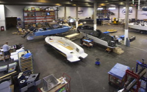 Candela electric flying boat factory with 5 boats being built