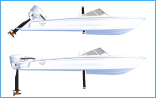 electric flying boat diagram - motor and foils in down position and up position
