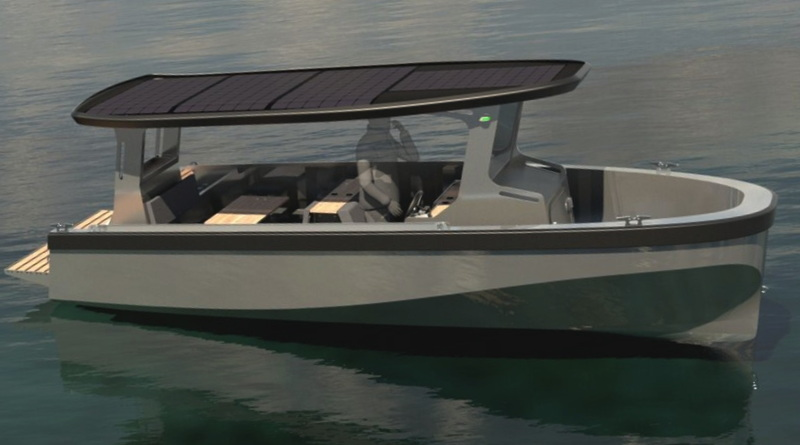 Norwegian solar boat artist's conception showing solar panels on canopy