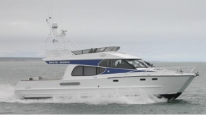 electric-hybrid waterjet will go into this catamaran - shown running with fossil fuel waterjets
