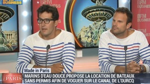 floating cinema will use boats from the Marin D'eau DOuce rental company, the founders are shown here on television explaining the concept
