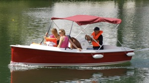 floating cinema patrons will sit in these bimini top Scoop model electric boats