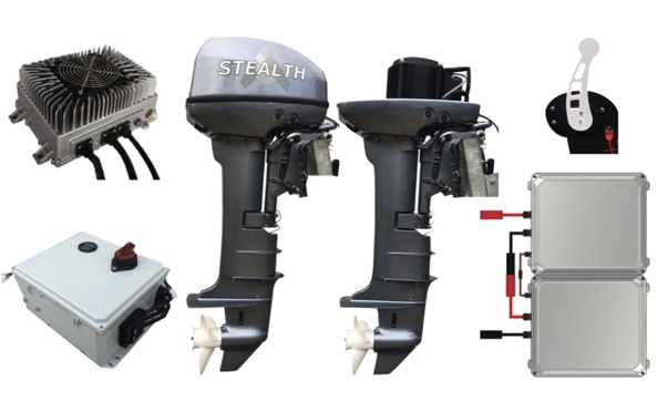 Stealth Electric Outboard Boat Motor and Componenets