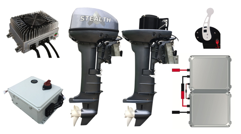 complete electric outboard package showing motor, battery, controller, charger and throttle