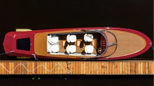 hydrofoiling electric boat seen from above