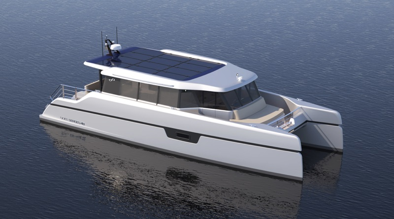 A solar electric catamaran - Soel Senses (artist conception)