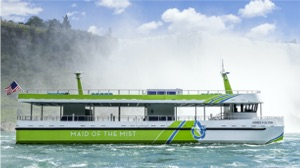 electric Maid of the Mist at foot of Niagara Falls