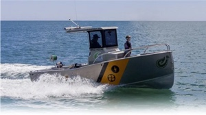 electric boat milestones - the Capone boat speeding along coast in new Zealand