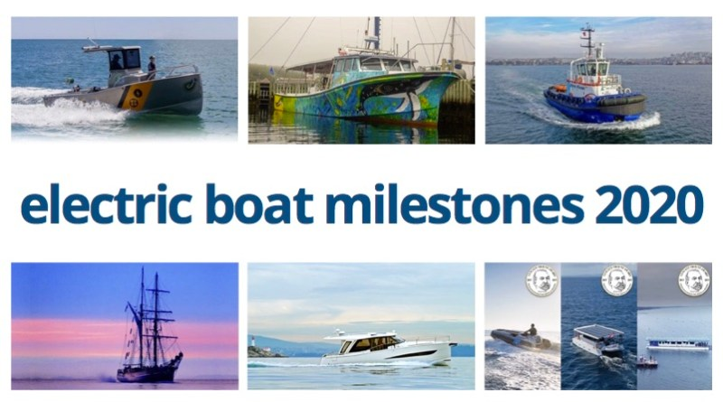 electric boat milestones collage showing 6 different boats