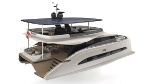 solar - hydrogen yacht in artists conception - tree quarter view