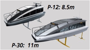 hydrofoiling water taxi P-12 and hydrofoiling ferry P-30 side by side
