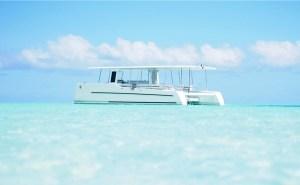 solar electric catamaran in tropical waters