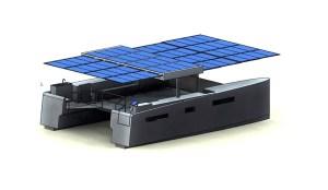 electric boats -= foldable solar catamaran plans