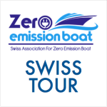 The Swiss Tour is all about electric boat exhibitors, this logo shows an electric boat