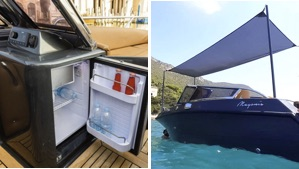fridge and awning options for the Magonis Wave e-550 electric boat