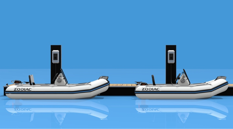 Zodiac electric boats side by side at dock, artist's impression