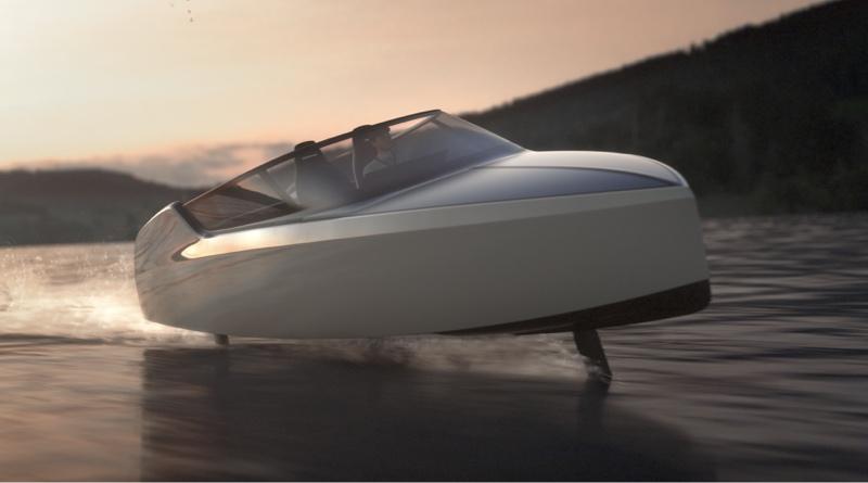 Dutch hydrofoiling eboat doing a bank turn (artists impression)