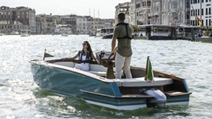 Yamaha electric boat motor on Respiro boat travelling in canals of Venice
