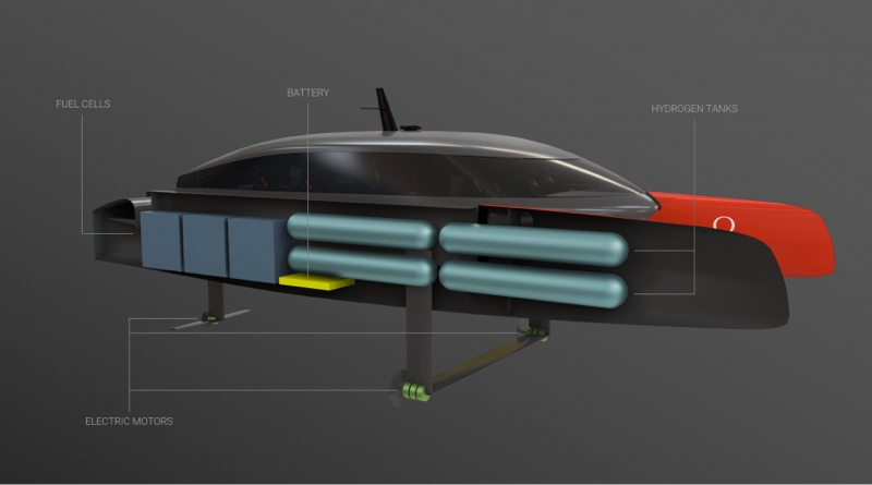 Hydrogen chase boat in cutaway view