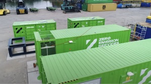 ZES shipping container batteries being constructed