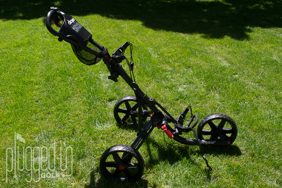 Clicgear 3.5+ Push Cart Review - Plugged In Golf on electric three wheel, junior golf pull carts 3 wheel, push cart replacement wheel,