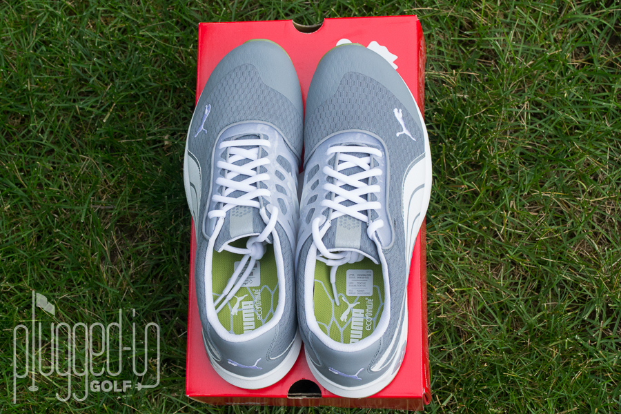 """a516573ef11 ... Puma Biofusion Mesh spikeless golf shoe. Ever since I first laid eyes  on the grey white lime (actually """"tradewinds"""""""