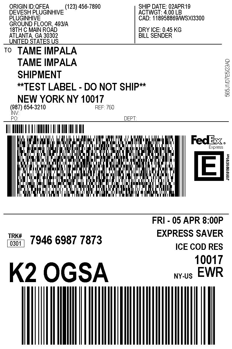 Dry Ice Sticker : sticker, Frozen, Items, Using, FedEx, PluginHive