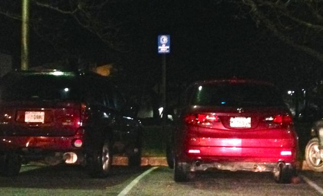 SUVs blocking two EV charging stations in Columbia, MD