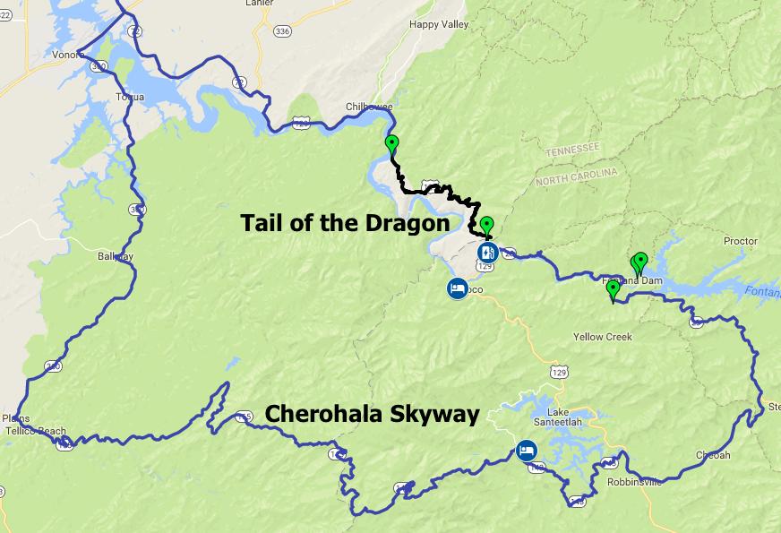 Tail of the Dragon, Cherohala Skyway Map