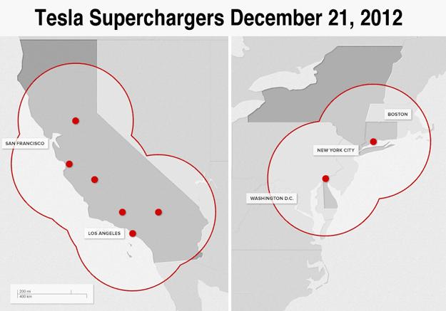 Tesla Supercharger map 2012