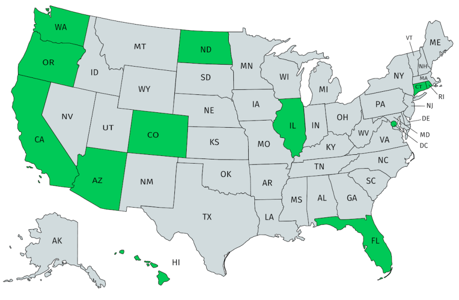 Anti-ICEing laws state US map