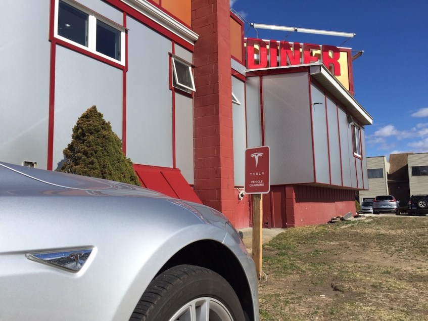 Mill Plain Diner Tesla Charging Station