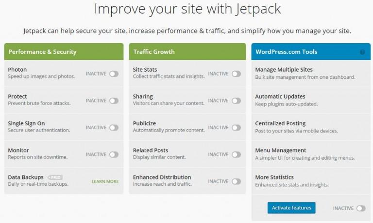 Jetpack's dashboard
