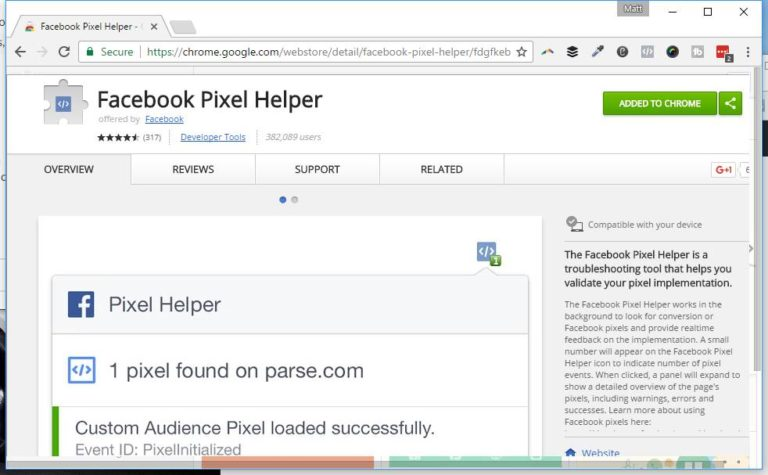 Add this to Chrome to verify your pixel