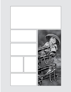 Revised Page layout for 108 offer more space for a dramatic establishing shot in panel 1.