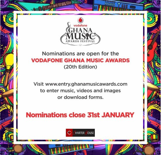 Vodafone Ghana Music Awards 2019 nominations open