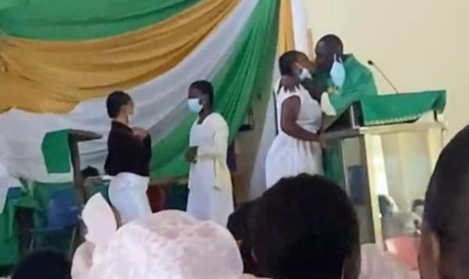 Anglican priest kissing female students st monica college education ghana