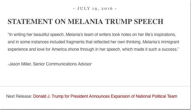 Statement on Melania Trump